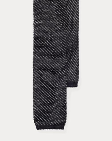 Mélange Knit Silk-Linen Tie