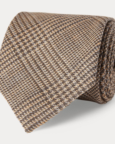 Glen Plaid Linen Narrow Tie