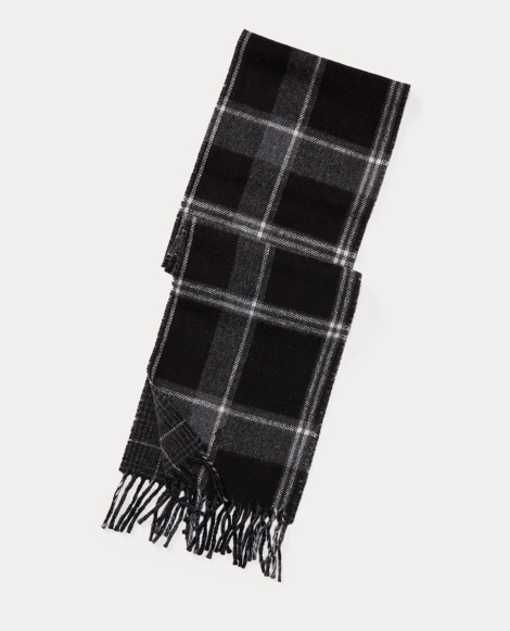 Reversible Plaid Wool Scarf