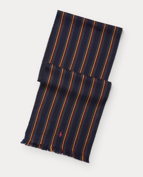 Stripe Repp Wool-Cotton Scarf
