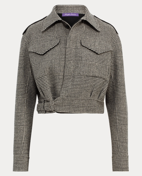 Glen Plaid Military Jacket