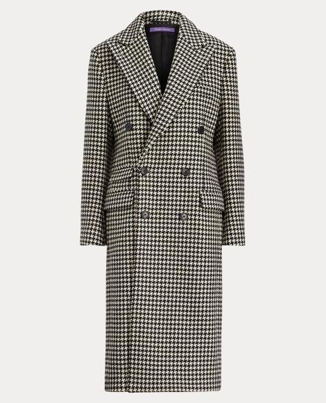 Brendan Houndstooth Wool Coat