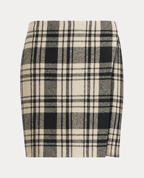 Brooke Plaid Merino Wool Skirt