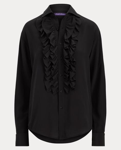 Andrei Ruffle-Front Silk Shirt