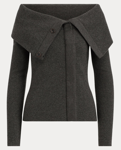 Cashmere-Wool Fold-Over Jacket