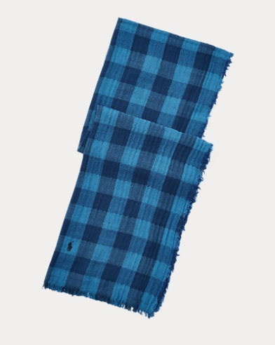 Indigo Buffalo Plaid Scarf
