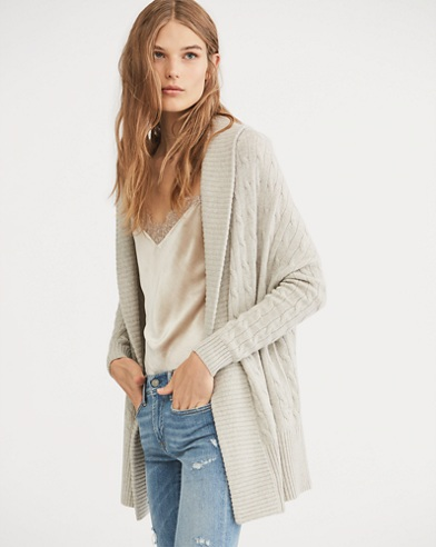 Cable Cashmere Shawl Cardigan
