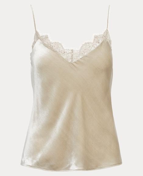 Lace-Trim Velvet Camisole