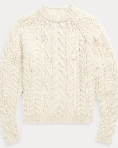 Aran-Knit Wool-Blend Sweater