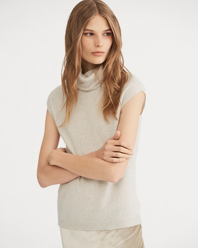 Cashmere Cap-Sleeve Turtleneck