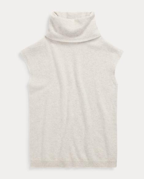 Cashmere Cap-Sleeve Turtleneck
