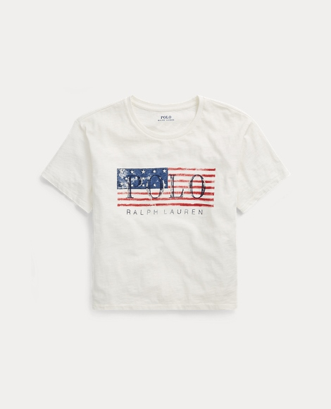 Flag Cropped Cotton T-Shirt