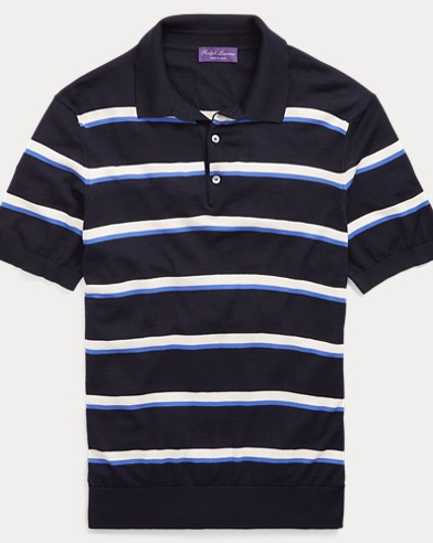 Striped Merino Polo Sweater