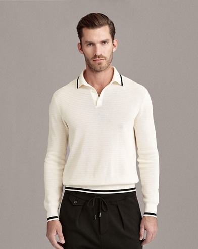 Cotton Mesh Polo Sweater