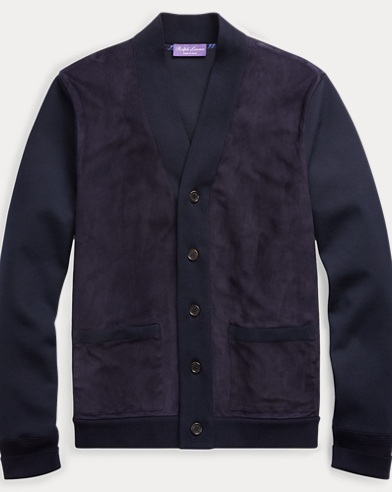 Suede-Front Knit Cardigan
