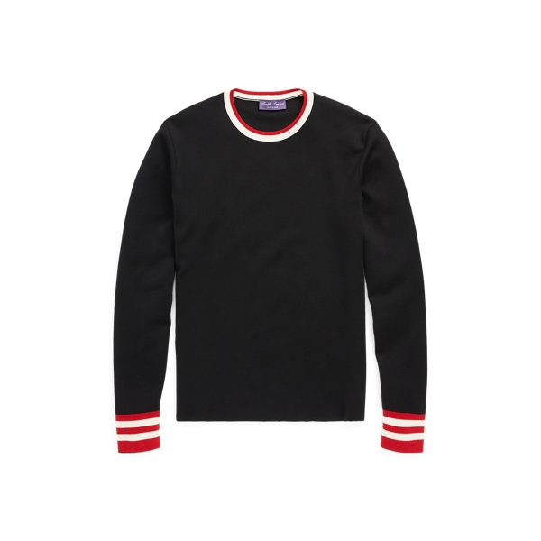 Stripe Trim Wool Sweater by Ralph Lauren