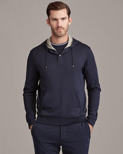 Cotton Hooded Henley T-Shirt