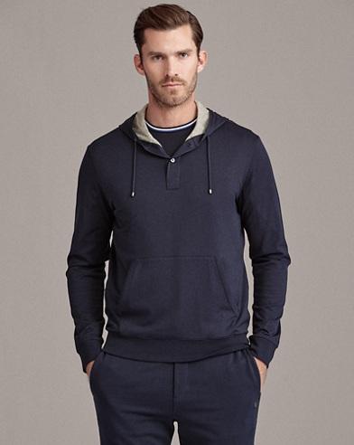 Cotton Hooded Henley T-Shirt