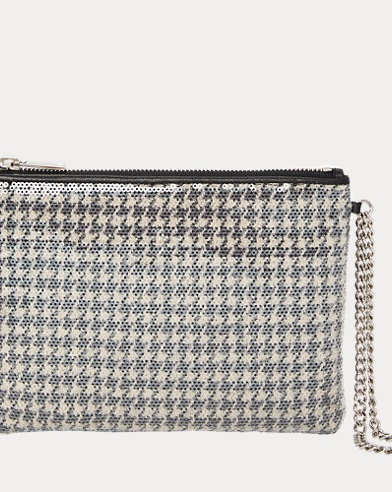 Sequined Houndstooth Pouch