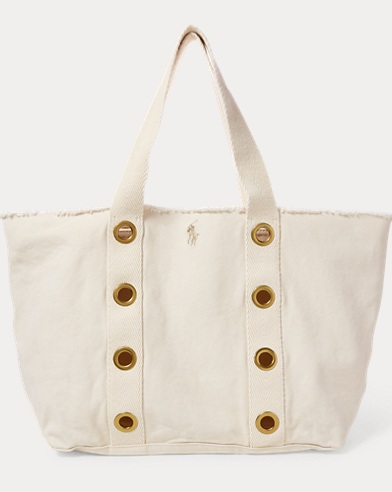 Grommet-Trim Large Canvas Tote