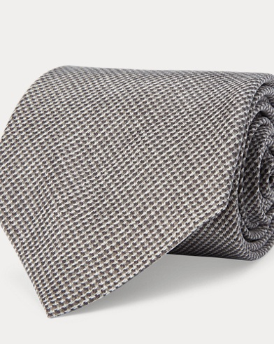 Tick-Weave-Print Madder Tie