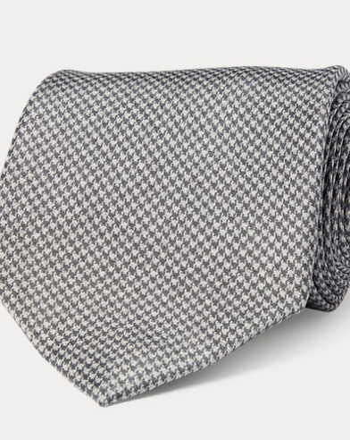 Houndstooth-Print Madder Tie