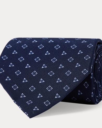 Geometric-Print Silk Crepe Tie