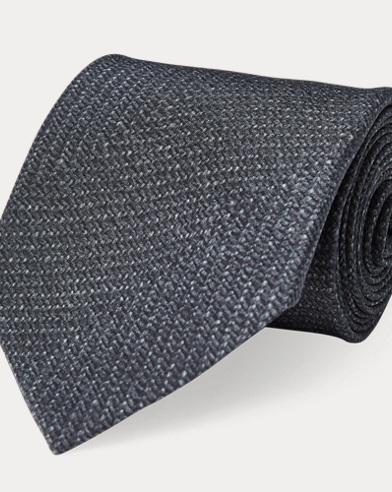 Herringbone-Print Silk Tie