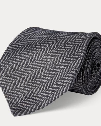 Herringbone-Print Madder Tie