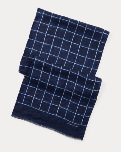 Windowpane Linen Scarf