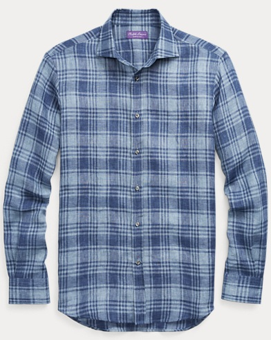 Plaid Linen Dress Shirt