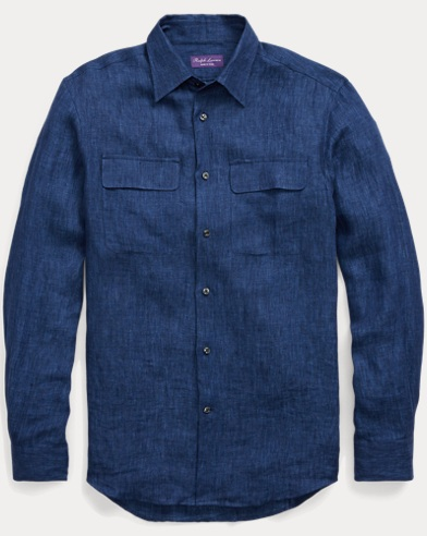 Indigo Linen Dobby Dress Shirt