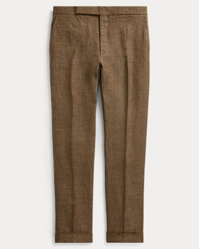 Houndstooth Linen Suit Trouser