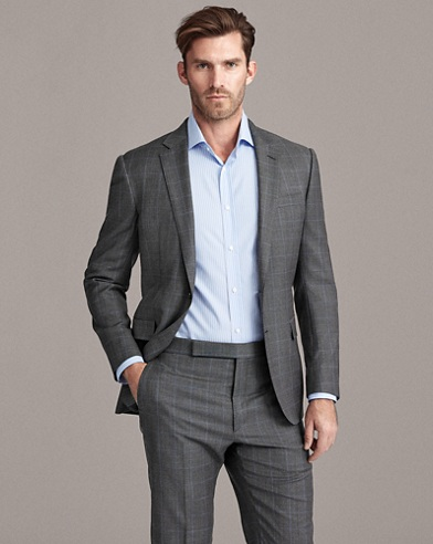 Windowpane Wool Sharkskin Suit