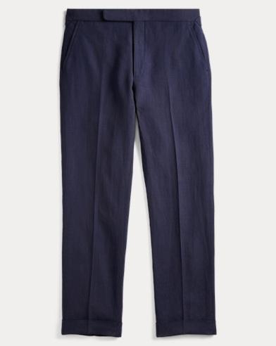 Pleated Basket-Weave Trouser