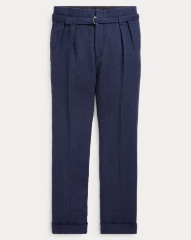 Pleated Herringbone Trouser