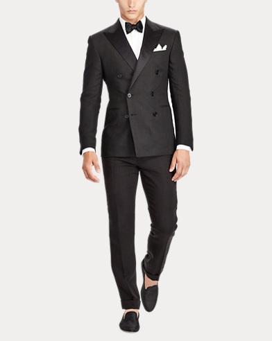 Satin-Trim Linen Tuxedo
