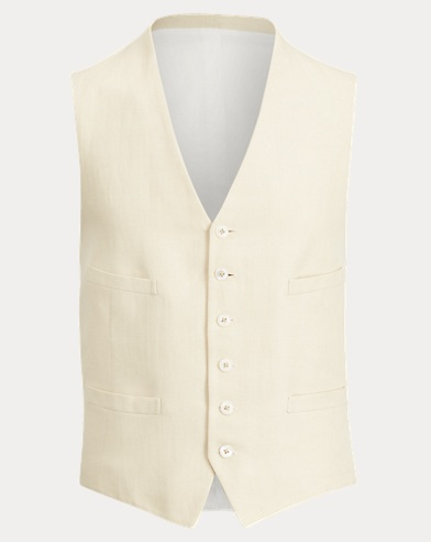 Linen-Cotton Faille Vest