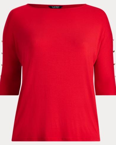 Button-Sleeve Jersey Top