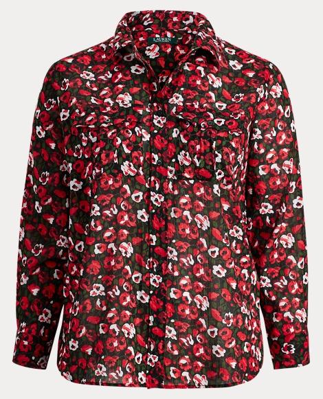 Crinkled Cotton Floral Shirt