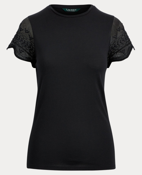 Tulle-Sleeve Jersey Top