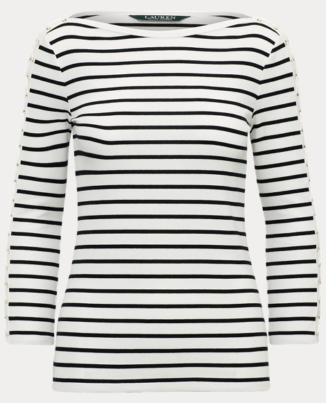 Striped Lace-Up-Sleeve Top