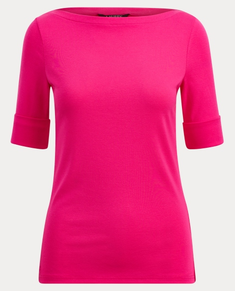Ribbed Cotton Boatneck T-Shirt