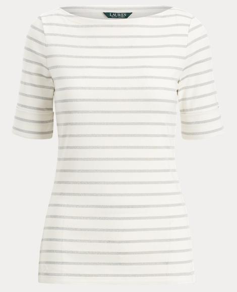 Stripe Cotton Boatneck T-Shirt