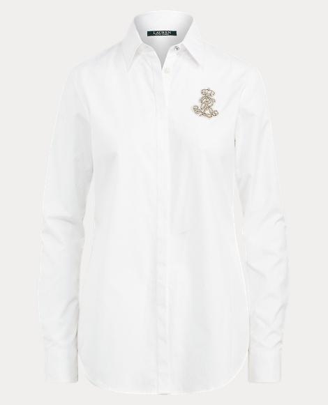 Rhinestone Crest Poplin Shirt