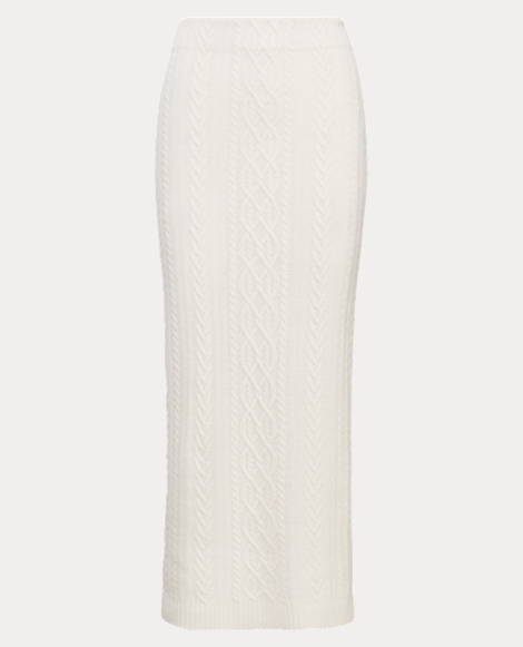 Cable-Knit Wool-Cashmere Skirt