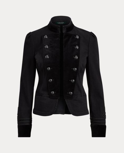 Velvet-Denim Officer's Jacket