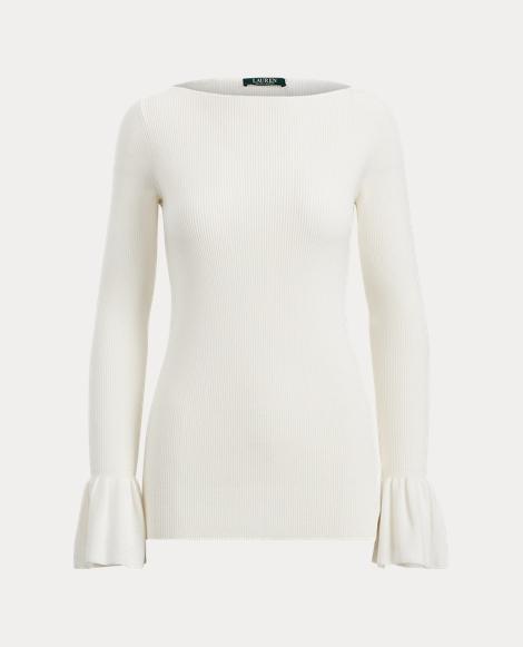 Ruffle-Cuff Cotton Sweater