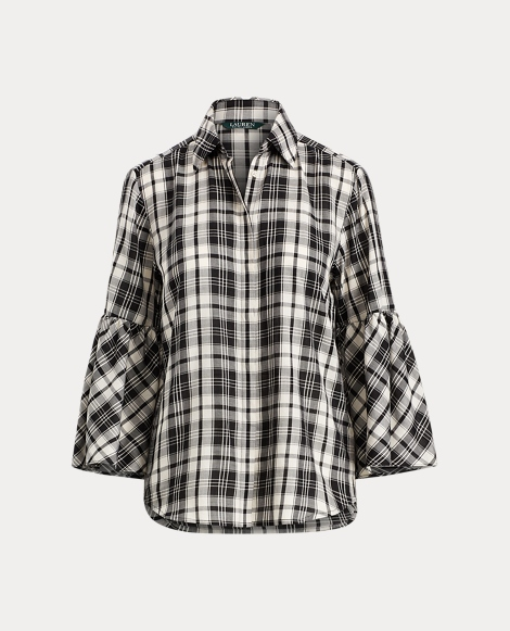 Plaid Bell-Sleeve Cotton Shirt