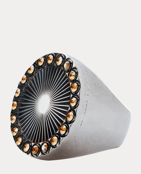 Brass-Crystal Sunburst Ring